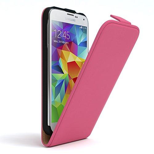 EAZY CASE Hülle kompatibel mit Samsung Galaxy S5/LTE+/Duos/Neo Hülle Flip Cover zum Aufklappen, Handyhülle aufklappbar, Schutzhülle, Flipcase, Flipstyle Hülle vertikal klappbar, Kunstleder, Pink
