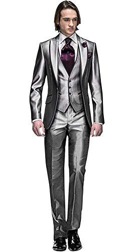 MY'S Men's Custom Made Groomsman Tuxedo Suit Pants Vest and Tie Set Silver Size 42R
