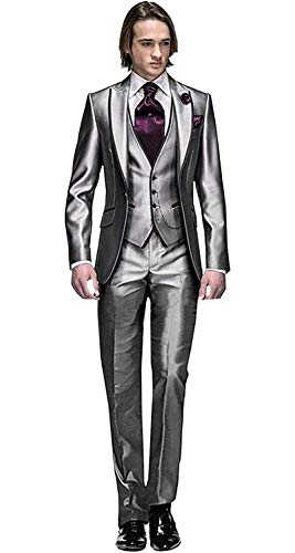 MY'S Men's Custom Made Groomsman Tuxedo Suit Pants Vest and Tie Set Silver Size 42R