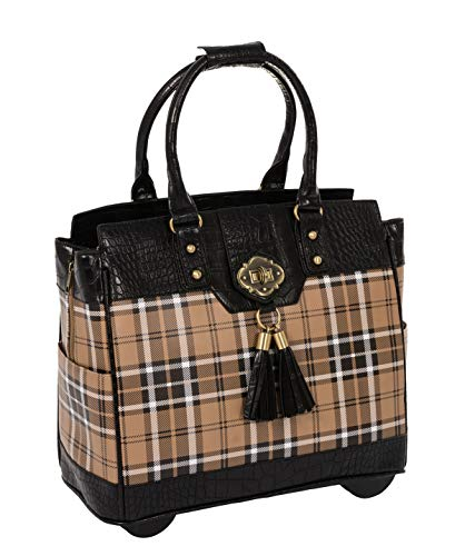 Spacious rolling laptop bag or rolling briefcase. Makes a wonderful weekend getaway bag! Plaid tartan checker exterior with black faux alligator trim laptop computer carryall or rolling briefcase bag. Antique brass tone pendant plus accent hardware. ...