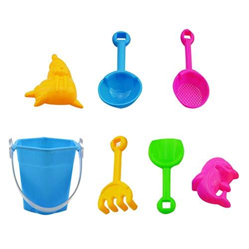 JUSHINI 7 Stück Strandspielzeug Set Strand Sandspielzeug-Spielset Für Kinder Sandkastenspielzeug Mit Enthält Wasserrad Strandbuggy Eimer Gießkanne Sandburg Baukasten Und Formen Für Jungen Mädchen