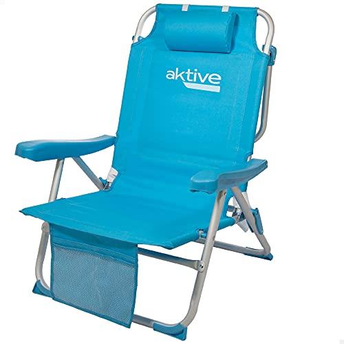 Aktive 53983 - Silla plegable de playa, Silla con cojín, Silla plegable tipo mochila, respaldo reclinable, mide 66x58x80 cm, con dos bolsillos, color azul pastel, Aktive Beach