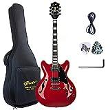 GROTE Electric Guitar Semi-Hollow Body Guitar Gig Bag (Red)