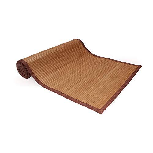 BambooMN 1 x Tischläufer aus Bambus-Lamellen, braun mit brauner Bordüre.