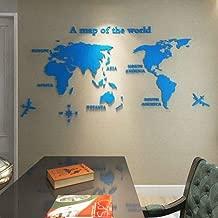 KLOIZZ Creative World Map Acrylic Decorative 3D Wall Sticker for Living Room Bedroom Office Decor 5 Sizes DIY Wall Sticker Home Decor-Light Blue-XXL 2.8x1.4m