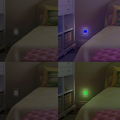 LED Concepts Pack of 2 Plug-In LED Night Lights – Ultra Slim, Cool-Touch Design – Great for Bedroom, Bathroom, Hallway, Stairways, or Any Dark Room (Blue Green)