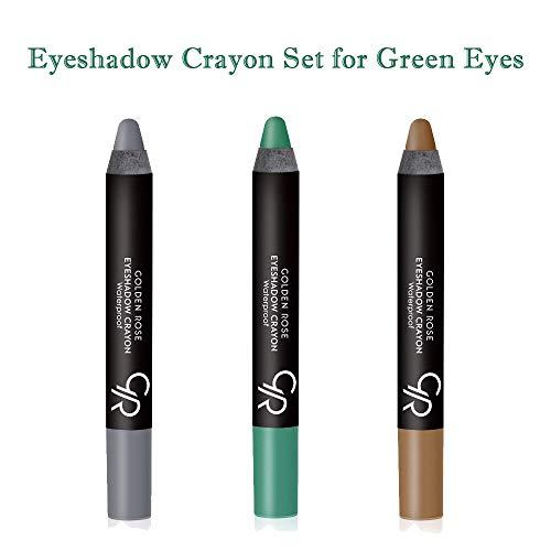 Golden Rose Creamy Eyeshadow Crayon 3-Piece Set for Green Eyes