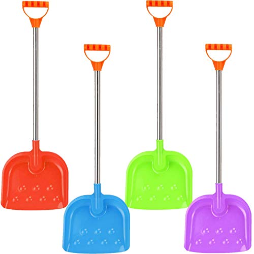 Liberty Imports 32-Inch Kids Large Heavy Duty Metal Snow Shovels with Plastic Scoop and Handle - 4 Pack