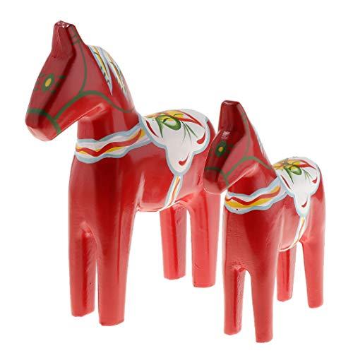 KESOTO 1 Paar S+L Handgemachte Schwedische Holzpferd Dalapferd Pferd Tierfiguren - Rot