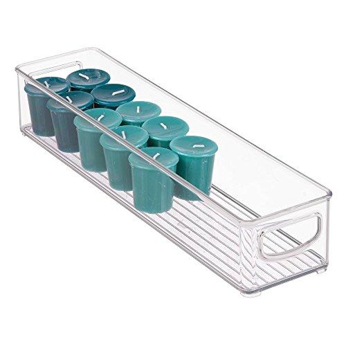 iDesign Cabinet/Kitchen Binz Caja organizadora, pequeño organizador de cocina de plástico, cajón para frigorífico alargado, transparente