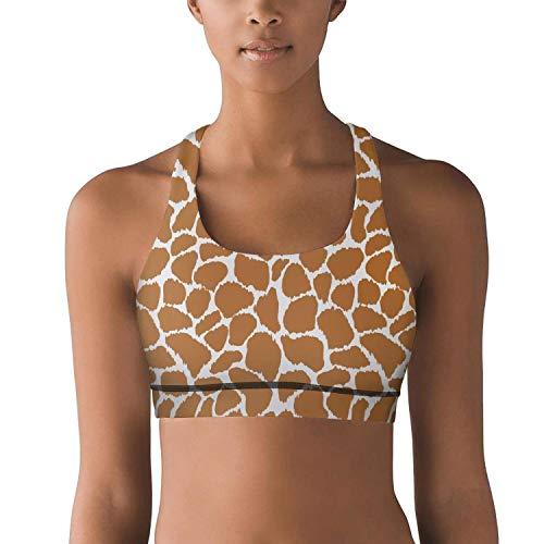 Danqc Women's Sports Bra Funny Giraffe Print Theam Racerback Strap Cute Best Yoga Vest