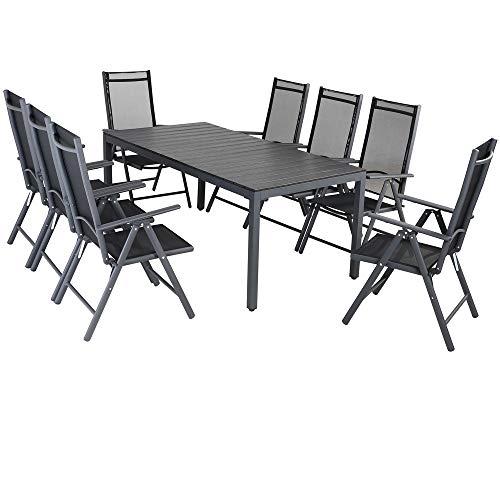 Casaria Aluminium Sitzgruppe 8 Klappstühle Hochlehner WPC Gartentisch 180x90 cm Sitzgarnitur Alu Gartenmöbel Set Grau