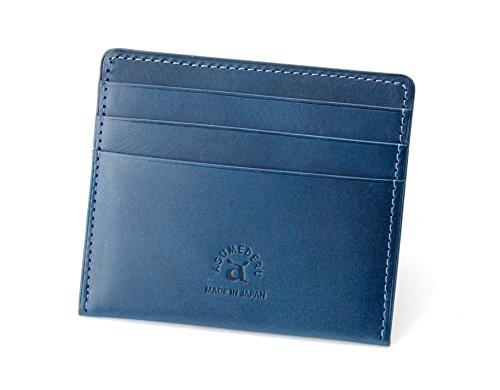 [ASUMEDERU]イタリア製牛革 超薄型財布 お札もカードも小銭もこの薄さに ポケット財布 14E-3194 薄い財布(ブルー)