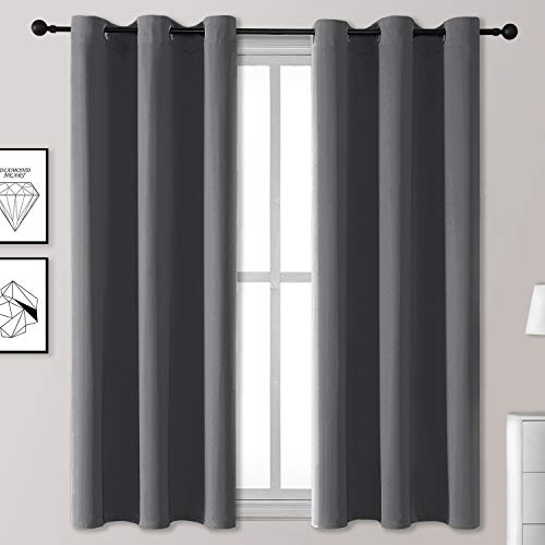 Rutterllow Blackout Curtains for Bedroom, Thermal Insulated Room Darkening Curtains 2 Panels for Living Room, Grommet Top (42x63 Inch, Dark Grey)
