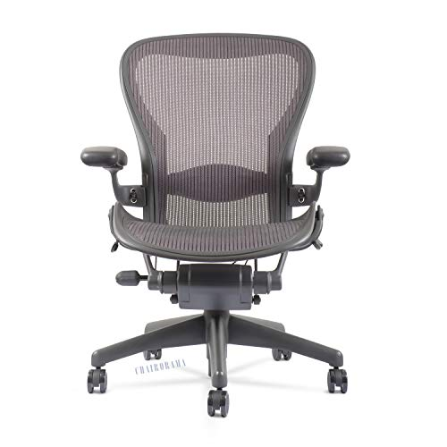 Aeron Chair by Herman Miller - Highly Adjustable - Graphite Frame - Lumbar Pad - Lead Classic Size B (Medium) (Renewed)