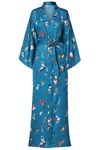 BABEYOND Damen Morgenmantel Maxi Lang Seide Satin Kimono Kleid Blüten Muster Kimono Bademantel Damen Lange Robe Blumen Schlafmantel Girl Pajama Party 135 cm Lang (Vögel)