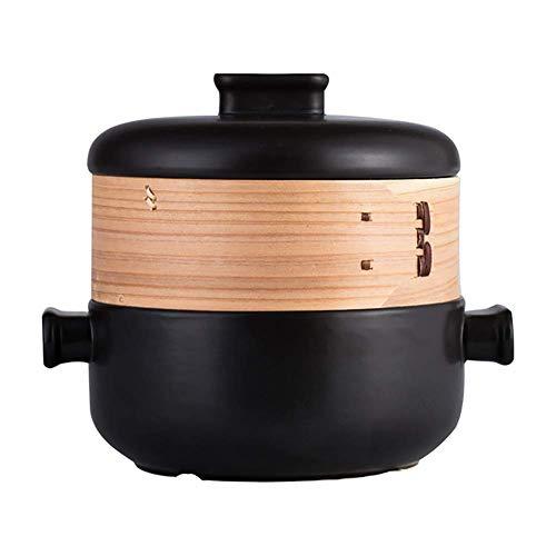 YLCJ Cocotte à Vapeur à Deux étages Jese, Pot à ragoût Domestique 2.5L en céramique, Pot à Soupe résistant à la Chaleur, Noir 2.5 litres