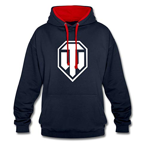 Spreadshirt World of Tanks Logo WoT Kontrast Hoodie, L, Navy/Rot