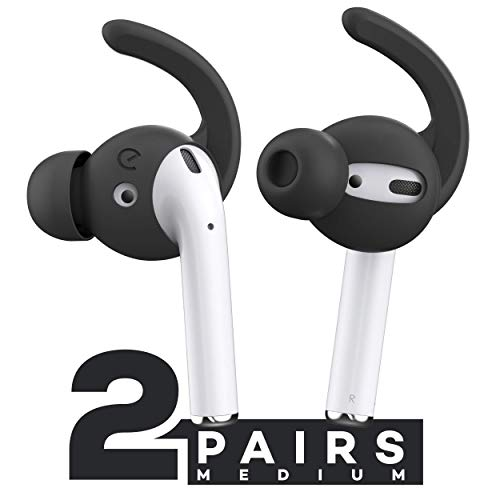 Image of the EarBuddyz Ultra Ear Hooks and Covers Compatible with Apple AirPods 1 & AirPods 2 or EarPods Featuring Bass Enhancement Technology (Medium, Black)