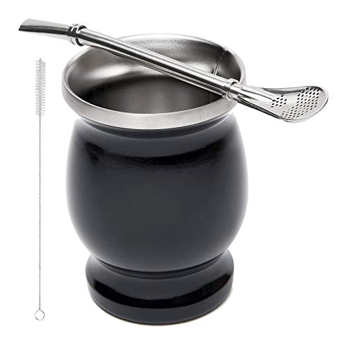 Ctzrzyt Juego de Té de Yerba Calabaza Mate de Doble Pared Inoxidable Taza de Té de Mate de Agua de Café con Cuchara Bombilla de Paja y Cepillo de Limpieza 8Oz