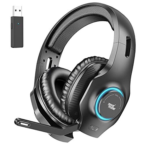 REDSTORM Auriculares inalámbricos para PC, juegos, micrófono con cancelación de ruido con micrófono, sonido envolvente estéreo, luz RGB, auriculares para juegos, para PC, MAC, PS4, PS5