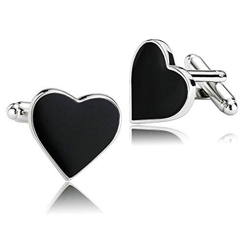 AnazoZ Joyería de Moda 1 Par Gemelos de Hombre Acero Inoxidable Forma Corazón Color Negro Gemelos para Hombre