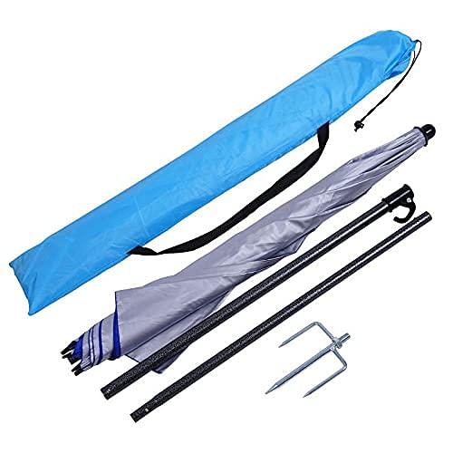 BPDD Parasol Redondo Portátil de 1,6 m, Anchor Cuadrado Redondo Redondo Tejido Impermeable/Recubierto de Plata Anti-Ultravioleta, Completo Accesorios A Prueba de Viento, Impermeable y Regenerat