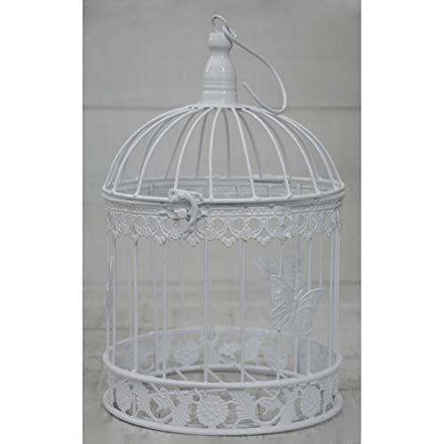 HOGAR Y MAS Jaula Blanca Decorativa de Metal, Elegante y Original. Decoración Jaulas Boda, Comunión, Jardín, Navidad. - Grande