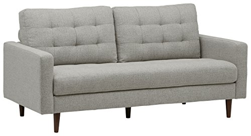 Amazon Brand – Rivet Cove Mid-Century Modern Tufted Sofa with Tapered Legs, 72'W, Light Grey