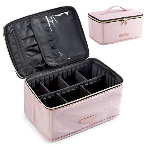 Makeup Bag, LIGHT FLIGHT Cosmetic Bag Large Makeup Case Organizer with Adjustable Dividers for Cosmetics, Makeup Brushes, Toiletries, Travel Accessories