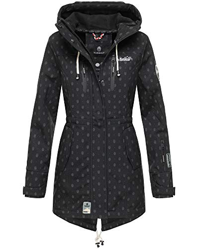 MARIKOO Damen Jacke Softshelljacke Übergangsjacke Outdoor Winddichte Wasserabweisend Funktionsjacke mit Kapuze XS - XXL Zimtzicke (Schwarz mit Print, XXXL)