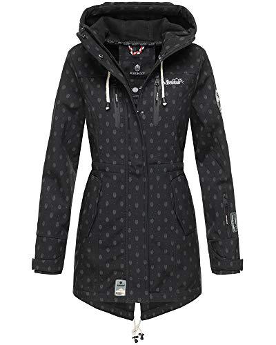 Marikoo Damen Softshell Jacke Winter Jacke Regenjacke Parka Kapuze ZMTZ (L, Schwarz mit Print)