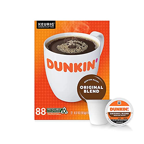 Dunkin' Donuts Coffee, Original Blend Medium Roast Coffee, K Cup Pods for Keurig Coffee Makers, 88 Count