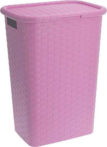 Spetebo Wäschebox in Flechtoptik 65 Liter - pink - Wäschetruhe Wäschekorb