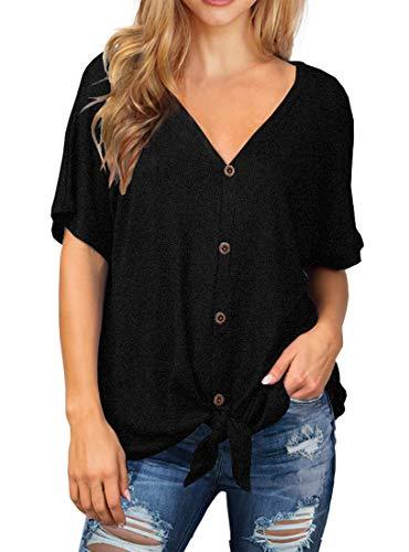 IWOLLENCE Womens Waffle Knit Tunic Blouse Tie Knot Short Sleeve Henley Tops Loose Fitting Bat Wing Shirts Black X-Large