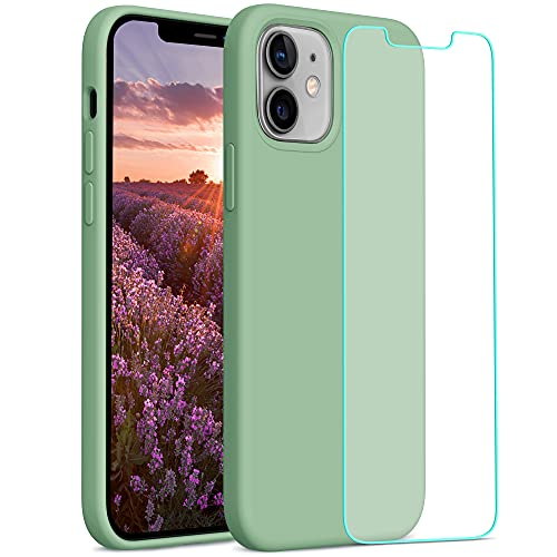 YATWIN Compatibile con Cover iPhone 12 Mini 5,4'', Custodia iPhone 12 Mini Silicone Liquido + Vetro Temperato, Protezione Completa del Corpo con Fodera in Microfibra, Verde Matcha