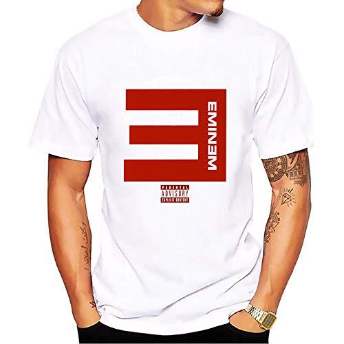 INSTO T-Shirt Rapper Eminem T-Shirt Mit Brief-Print Lässiges Herren-T-Shirt,A1,L