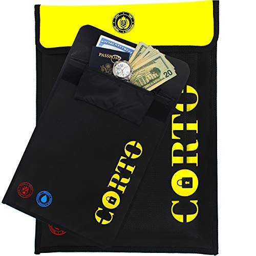PREMIUM Fireproof Document Bag 15'x11' with 7''x4'' inside pocket w/zipper- Waterproof Money Envelope –Money, Jewelry & File Holder – Fireproof Valuables Bag w/waterproof zipper (1 Large)