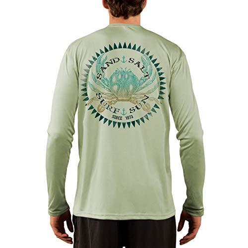 SAND.SALT.SURF.SUN. Vintage Crab Men's UPF 50+ UV Sun Protection Performance Long Sleeve T-Shirt XX-Large Sage