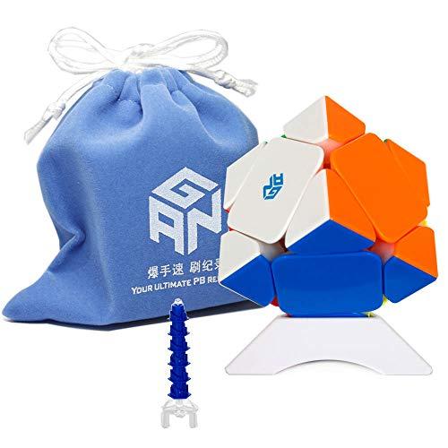 Oostifun Ganspuzzle Skewb M Multi Color Numérico GES Pro Core Positioning Edition Puzzle con una Bolsa de Cubo y un trípode de Cubo