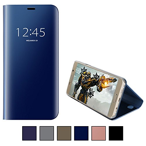 COOVY® Cover für Samsung Galaxy Note 5 SM-N920 / SM-920F Bookstyle, metallic Optik, Clear View, luxuriöses, durchsichtiges Spiegel Fenster Case, Standfunktion | Farbe blau