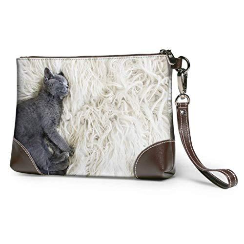 Embrague de cuero suave impermeable señora embrague bolsa gato está durmiendo en suave manta en piso de madera embrague muñeca cuero con cremallera para mujeres niñas