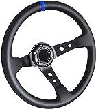 Rxmotor Drifting Deep Dish 350mm 6 Hole Sport Steering Wheel Racing Trim Universal (BLACK BLUE)