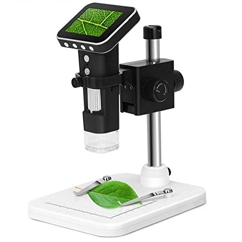 GENFALIN Microscopio, microscopio Digital de 500X de la Lupa 3MP USB Image Sensor con 2,5 Pulgadas de Pantalla y 8 LED y Soporte Profesional, el Apoyo TF Tarjeta
