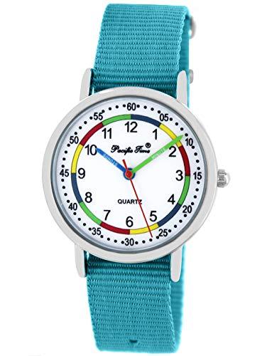 Pacific Time Mädchen Jungen Uhr Lernuhr analog Quarz mit Textilarmband hellblau 10808