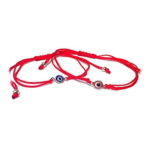 Ndier 2 Pcs Pulsera del Ojo Malvado Afortunado Brazalete de la Trenza de Ojos cordón Ajustable Cuerda Pulsera Pulsera de la Amistad de la joyería del Hombres Mujeres Azul Rojo