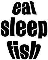 UYEDSR 車のステッカー2pc 11Cmx14Cm Eat Sleep FishFunビニールカー-スタイリングカーステッカーデカールアクセサリー-ブラック