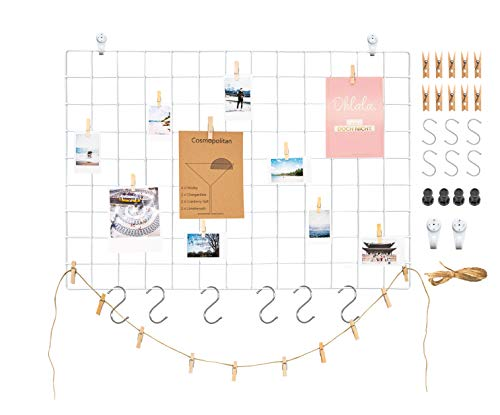 Deko Wandgitter aus Eisen in Weiss (65x45cm) zum aufhängen von Fotos | Metall Memoboard Pinnwand Gitter zum dekorieren der Wand (1x Weiss)