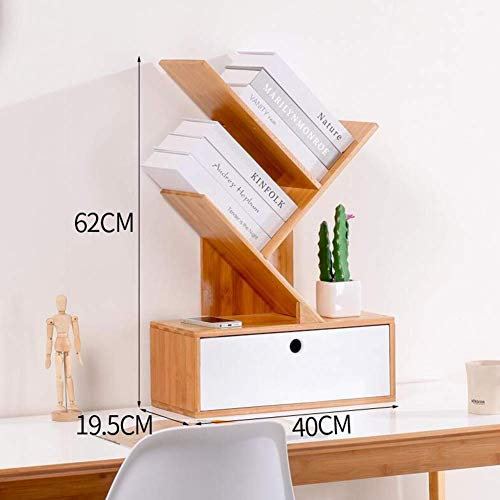YLCJ boekenkast, kast, rek, bamboe boe display ladder Storage Desktop Rack Organizer Uni Office Home (kleur: bamboe natuur)