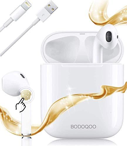 Bluetooth Kopfhörer,In-Ear Kabellose Kopfhörer,Bluetooth Headset,Sport-3D-Stereo-Kopfhörer,mit 24H Ladekästchen und Integriertem Mikrofon Auto-Pairing für Samsung/Huawei/iPhone/Apple/Android (Weiß)